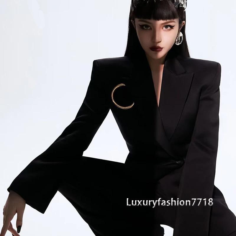 Luxury  2021 Runway High End black jacket women New fashion v neck coats suit Designer Long Sleeve office lady woman suit blazer