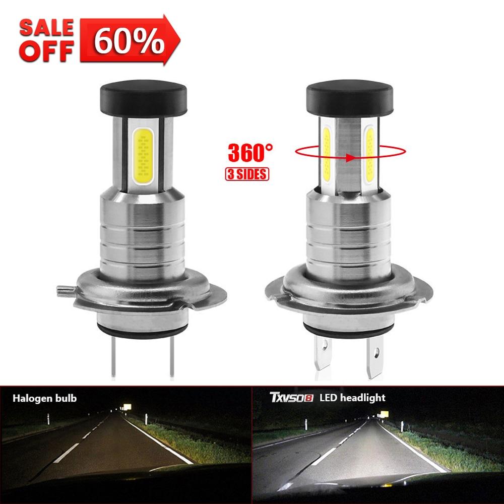 Светодиодные фары H7 6000K, белые лампы, универсальные COB мини автомобильные лампы 110 Вт/комплект, лм, Автомобильные противотуманные фары, яркие ...