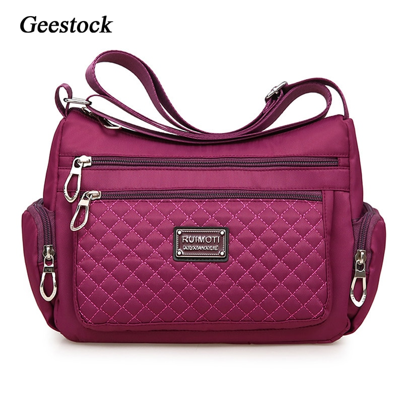 Geestock Women's Crossbody Bag Waterproof Nylon Plaid Shoulder Messenger Bags Large Capacity Lady Shoulder Bag