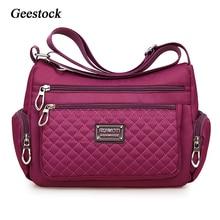 Geestock-Bolso cruzado de nailon impermeable para mujer, bandolera a cuadros, de gran capacidad