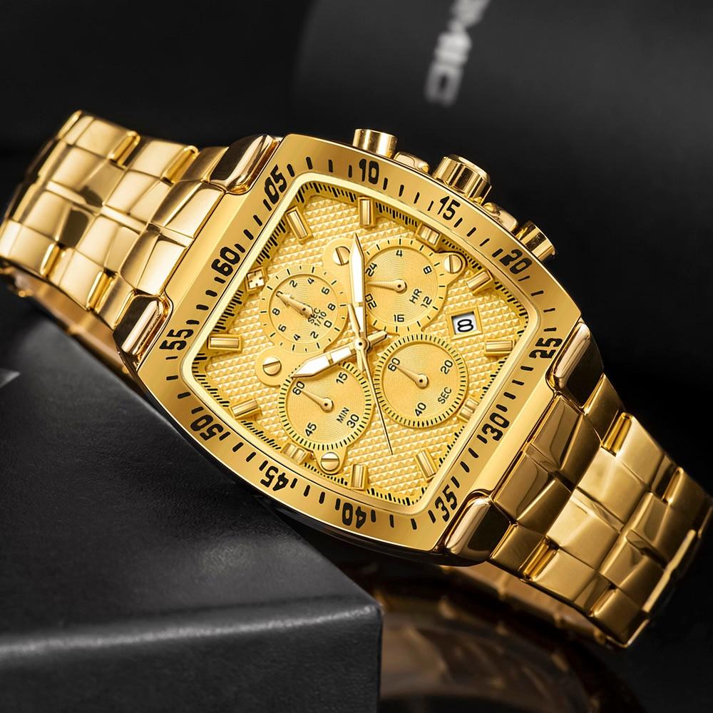Новинка 2021, мужские часы WWOOR, Роскошные военные золотые полностью Стальные кварцевые наручные часы, мужские модные водонепроницаемые спорт...