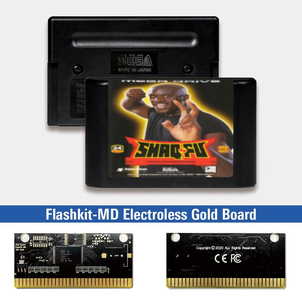 Shaq-fu-EUR Label Flashkit MD, tarjeta PCB dorada sin electrodos para Sega Genesis...