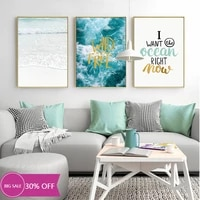 Toile de decoration de noel  affiches de peinture sur le mur  image dart murale de paysage marin bleu pour decoration de salon  decoration de maison