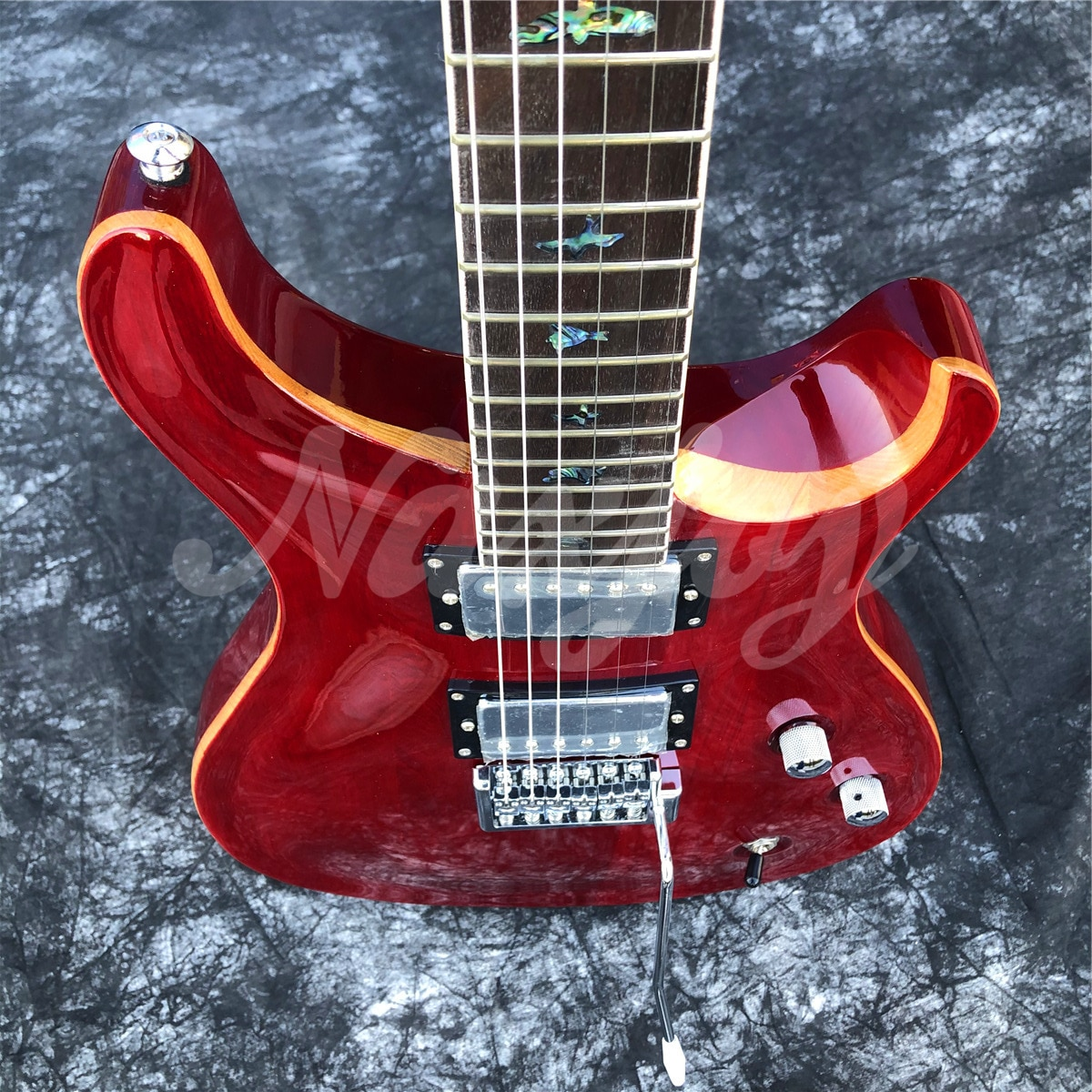 Promote Sales Glossy Red 6 String Electric Guitar,Solid Mahogany Body Rosewood Fingerboard Guitar,Real Photos enlarge
