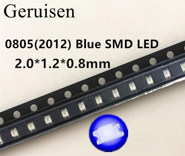 100 Uds. 0805 smd led rojo, amarillo, verde, blanco, azul, rosa, UV Ice RGB BIUE, diodo emisor de luz naranja 2,0x1,2 x. 0,8mm