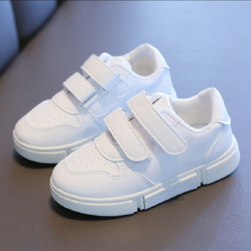 New Kids Sneakers Boys Shoes Girls Trainers Children Leather Solid White School Student School Child
