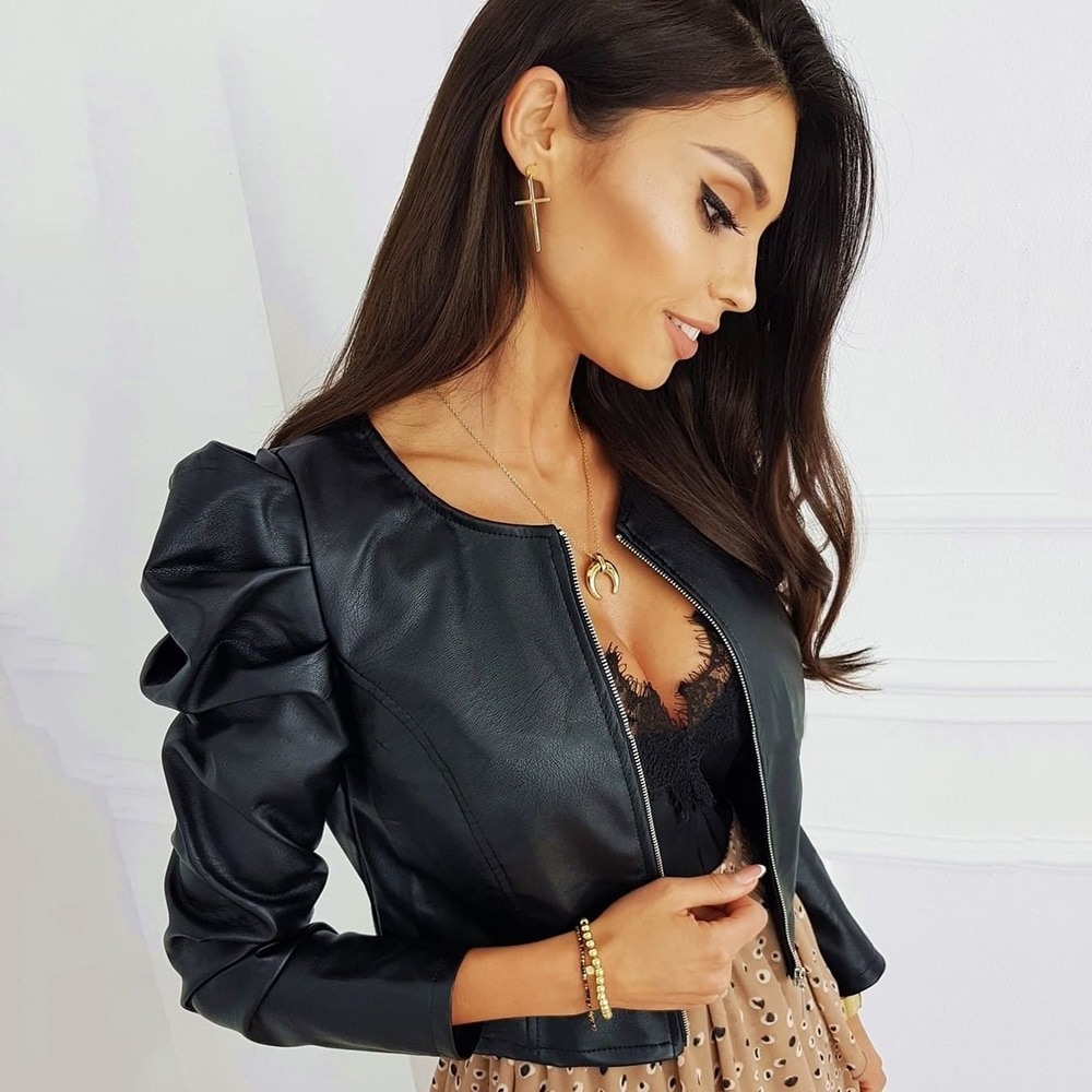 Black Faux Leather Jacket For Women Fashion Pu Leather Lady Coat Jackets With Zipper Outerwear Long Sleeve O Neck Female