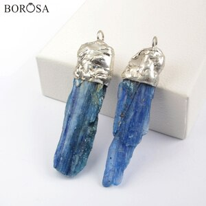 BOROSA Silver Color Rough Natural Kyanite Pendants Beads Freeform Druzy Quartz Charms Jewelry for Necklace Making WX1567
