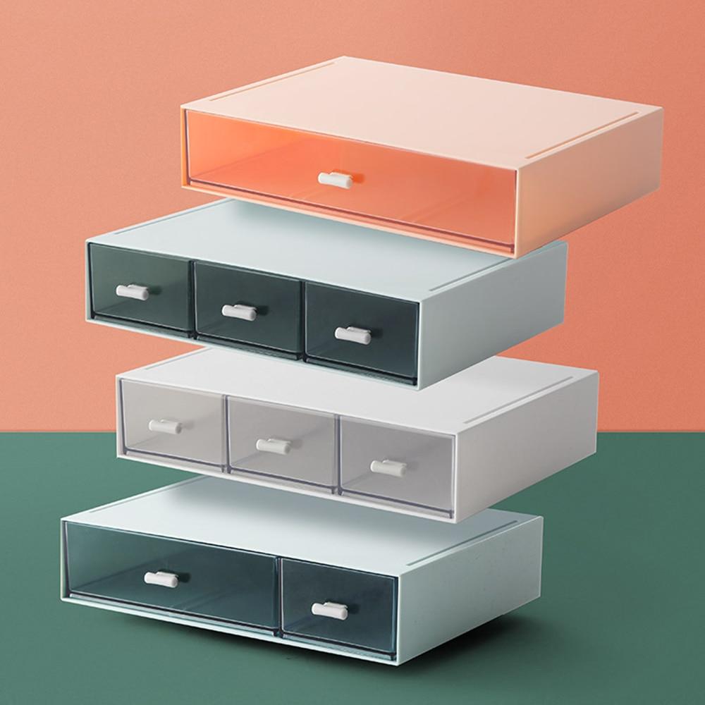 Cajón de escritorio caja de almacenamiento de plástico Multi-capa documentos diversos titular caja de maquillaje Mini joyero organizador contenedores