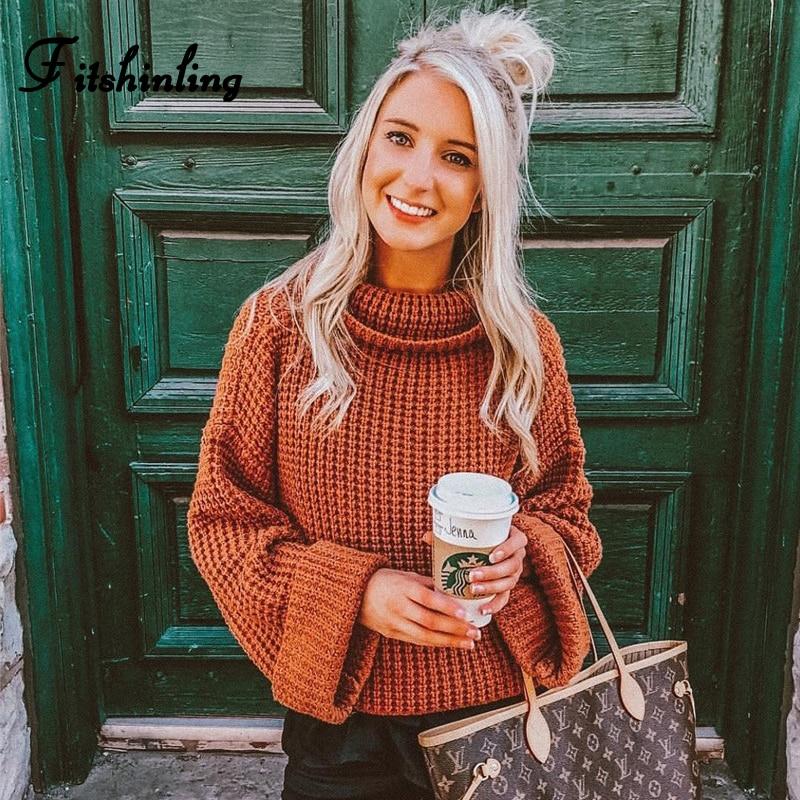 Fitshinling 2019 Winter New Womens Turtleneck Sweaters Pullovers Knitwear Solid Slim Jumper Roll Sleeve Pull Femme Sweater Sale