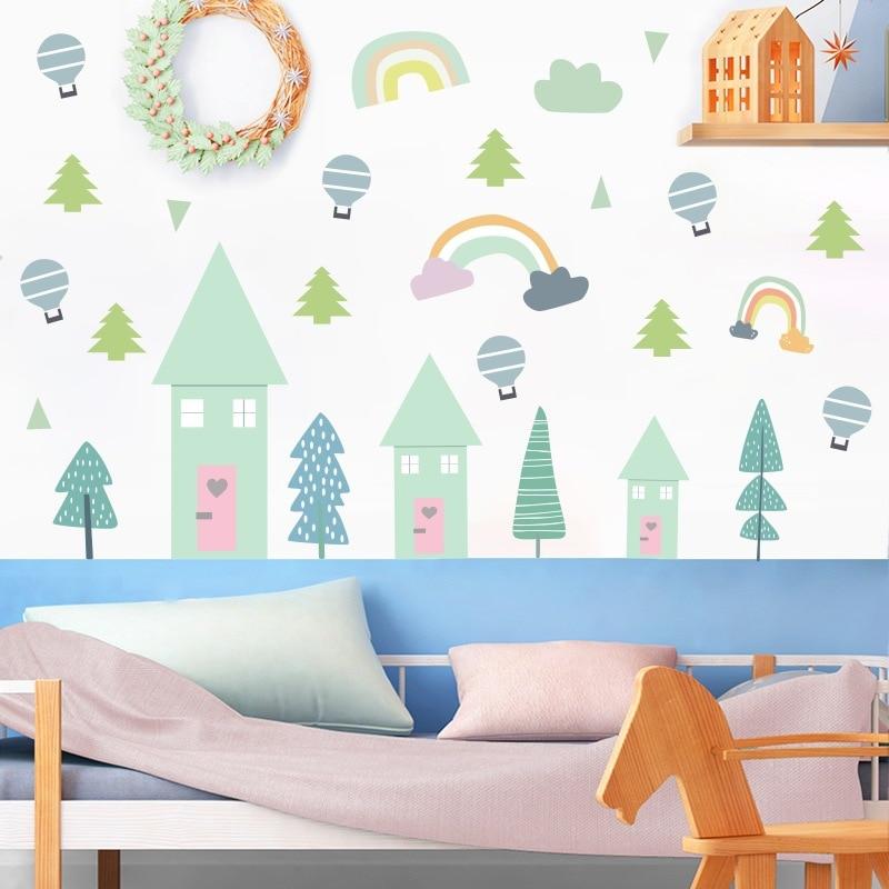Cartoon Rainbow Cabin House Circle Pattern Children Bedroom Wall Sticker