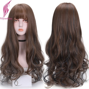 Yiyaobess Black Purple Grey Ombre Wig With Bangs Brown Highlights Long Wavy Hair Synthetic Daily Wear Natural Women Wigs Peruca