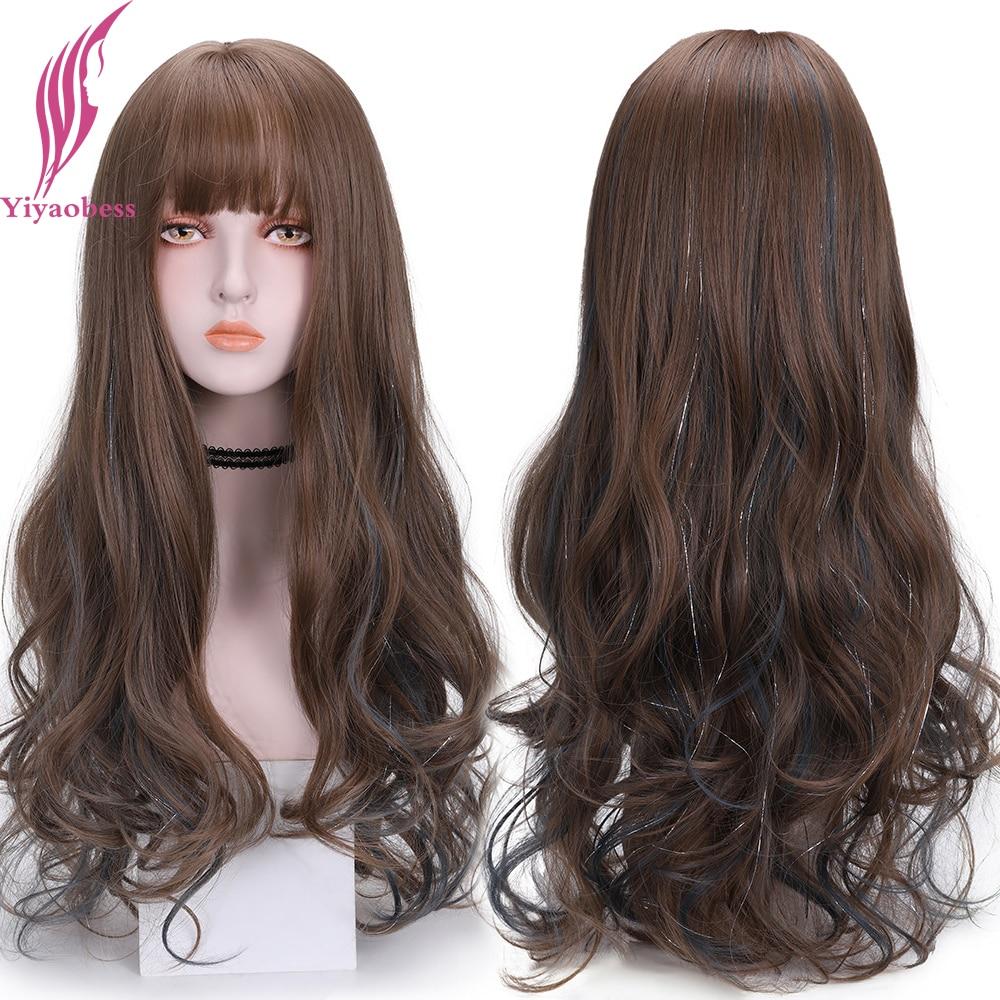 yiyaobess preto roxo cinza ombre peruca com franja marrom destaques longo ondulado