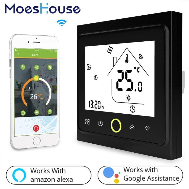 متحكم في درجة الحرارة ، واي فاي ، شاشة LCD تعمل باللمس ، إضاءة خلفية ، غلاية مياه/غاز ، يعمل مع Alexa ، Google Home ، 3A