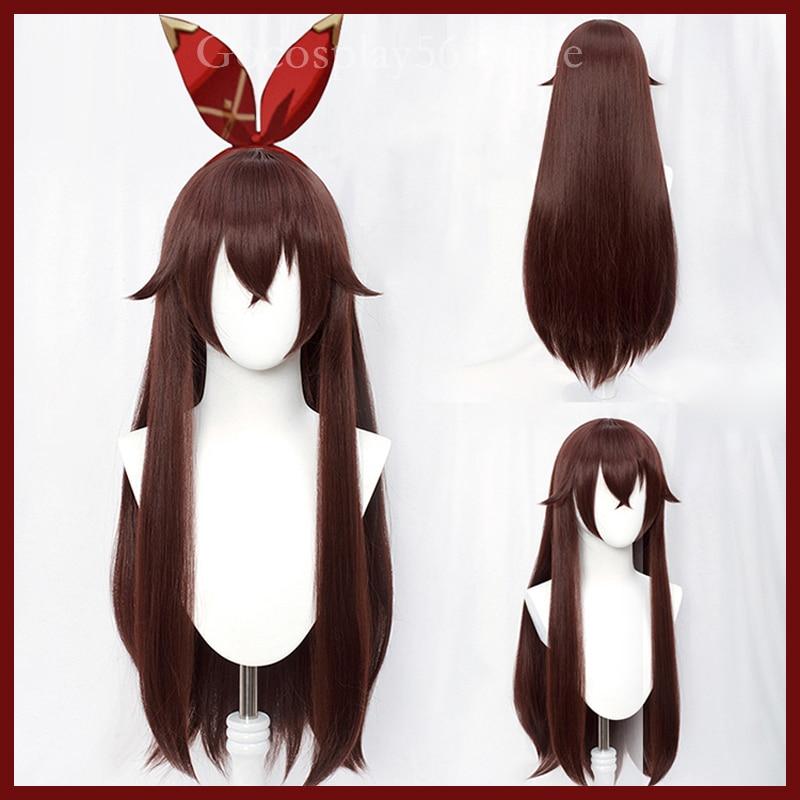 Genshin-شعر مستعار كوسبلاي ، أحمر ، بني ، شعر طويل ناعم ، مقاوم للحرارة ، للبالغين ، الهالوين ، لعب الأدوار ، AC