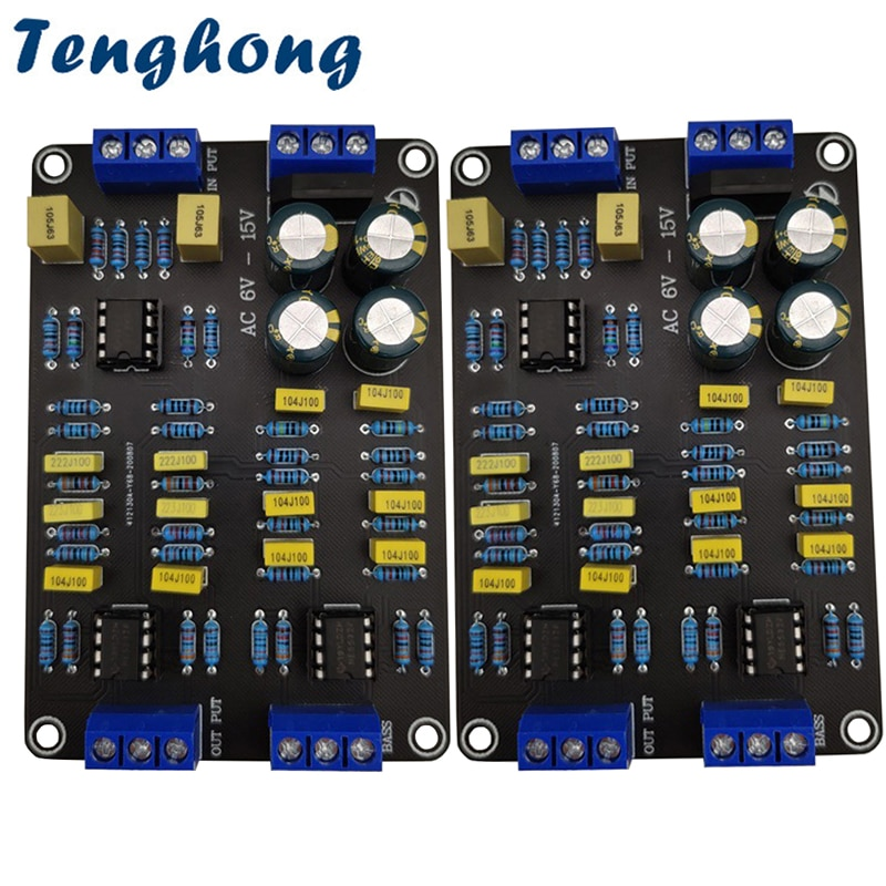 Tenghong 2pcs 2 Way Active Crossover Filter Treble Bass Audio Speaker Frequency Divider With NE5532 Pre-chip For Modified Audio 2019 fx audio new tube 03 mini audio tube pre amps dac audio with bass treble adjustable dc12v 1 5a power supply
