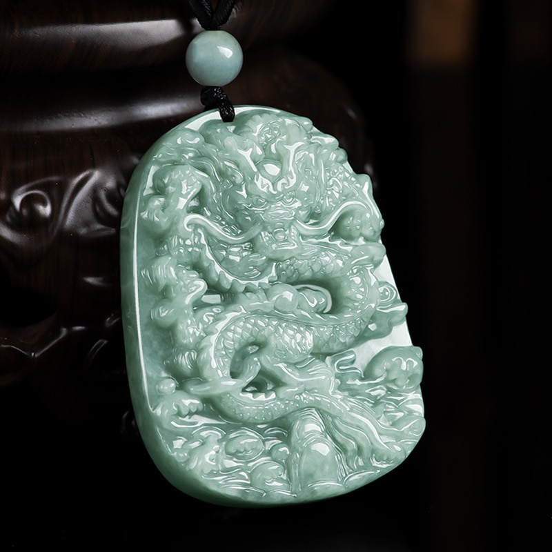 100% Natural Myanmar Class A Jade Hand-Carved Dragon Pendant Necklace Men And Women Pendant Jade Jewelry Amulet