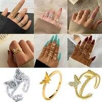 retro cute sweet butterfly ring set women fashion boho shiny water brick romantic geometric rings girl wedding birthday jewelry