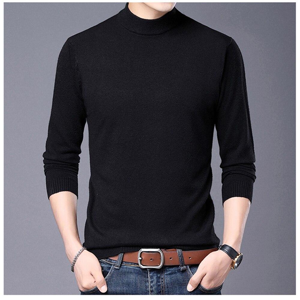 Весенне-осенний Одноцветный мужской свитер с воротником под горло, Новое поступление, Модный деловой облегающий свитер размера плюс 4XL MZM065