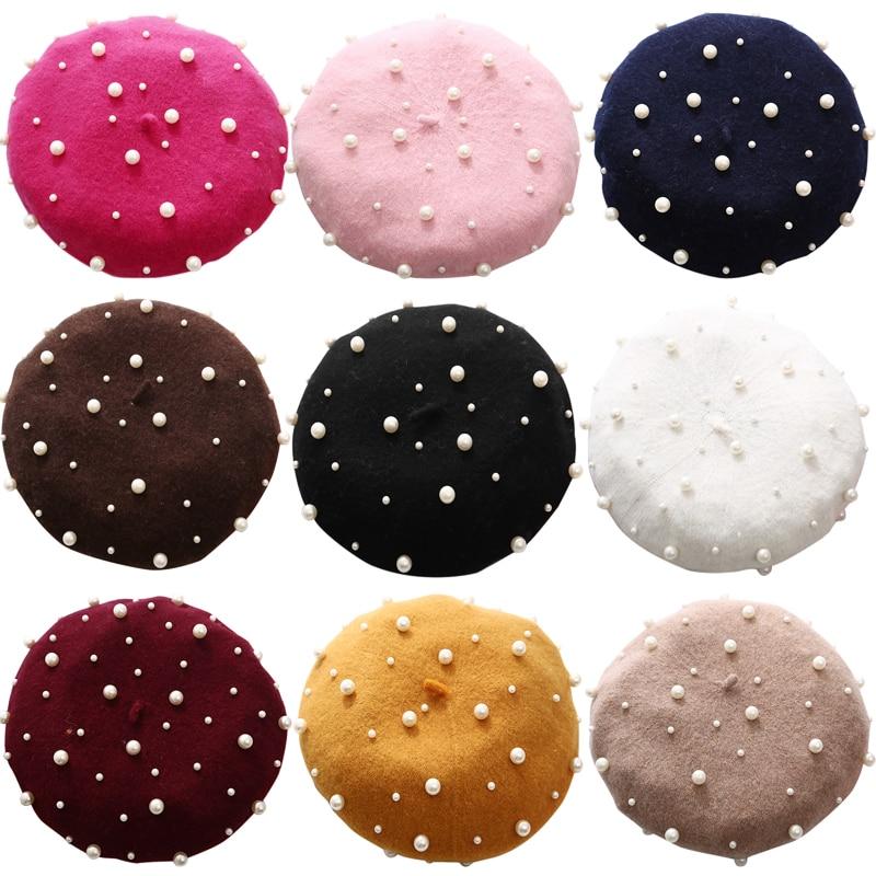 French Beret Hat Women Girls Princess Pearl Ornament Woolen Berets Plain Beanie Autumn Warm Winter W