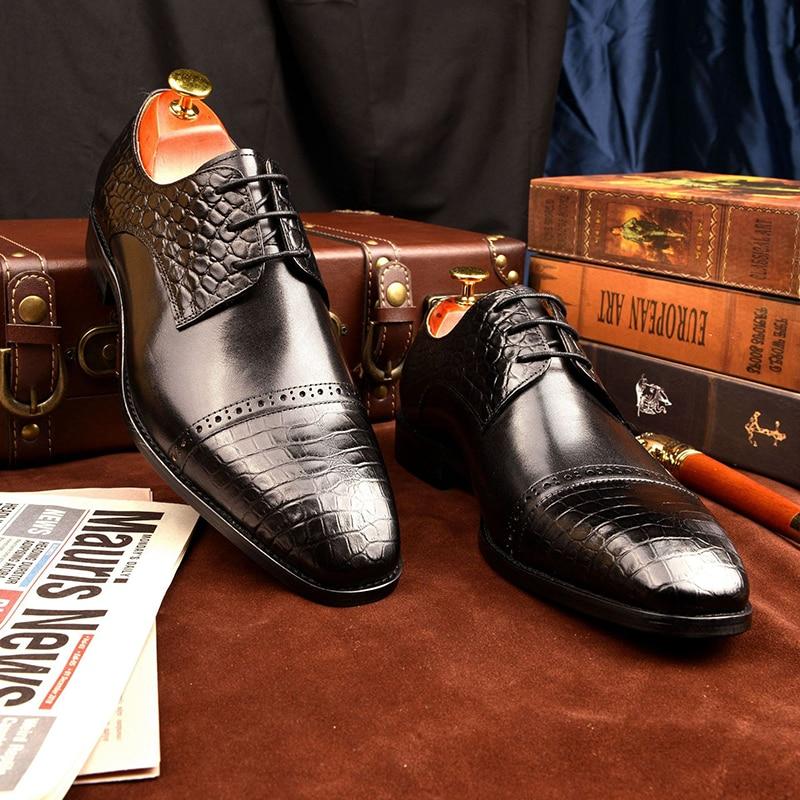 Derby Dress Formal Office Best Men Shoes Fashion Genuine Leather shoe Original Business Designer Shoes for Man