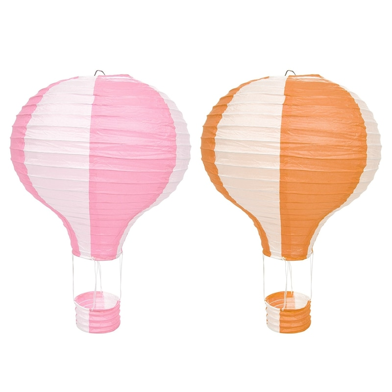 2x 12Inch Hot Air Balloon Paper Lantern Lampshade Ceiling Light Wedding Party Decor, Pink Stripes & Orange Stripe