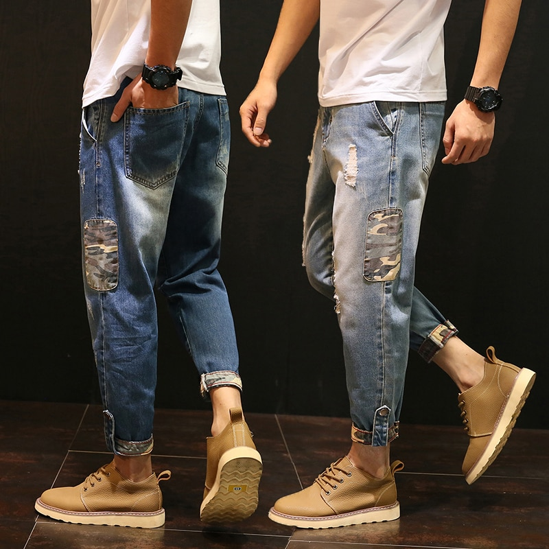 Fashion Brand Autumn Jeans Men's Korean Style Trendy Ankle Length Pants Ripped Harem Pants Loose Large Size Casual Cropped Thin