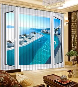 3D Window Curtains Modern Fashion Living Room Curtains Decoration ocean Photo Printing Drapes
