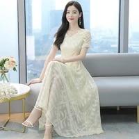 2021 womens summer new korean fashion jacquard high end chiffon waist dress french bohemian long dress tide