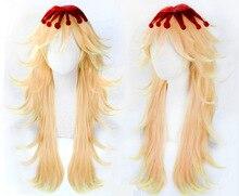 Tueur de démons: Kimetsu no Yaiba Douma perruques Cosplay cheveux longs dorés avec des gouttes de sang rouge sur le dessus de la tête + bouchon de cheveux gratuit