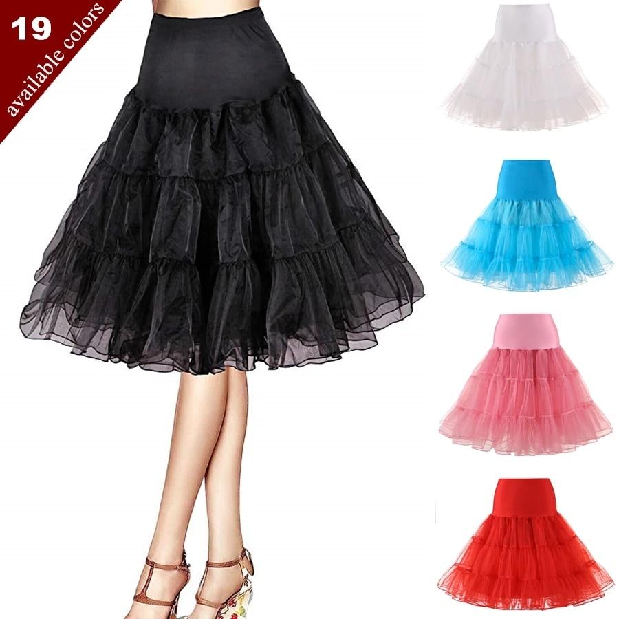 Free Short Organza Halloween Petticoat Lolita Rockabilly Ruffle Vintage Women's 50s Crinoline Tutu Underskirt 26 For Cosplay