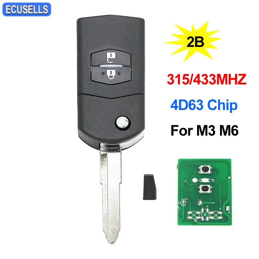 Llavero remoto plegable de 2 botones de alta calidad, llave de coche inteligente abatible de 315Mhz o 433Mhz para Mazda 3 6 M3 M6 con cuchilla sin cortar de Chip 4D63