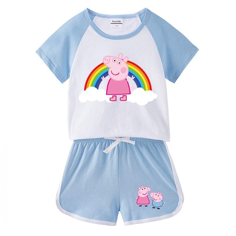 2020 Peppa Schwein Sommer Kleinkind Mädchen Kleidung Baby Junge 1Set Kinder Nette Kleidung Cartoon Weste Kleidung Baumwolle Ärmelloses T shirts Anzüge