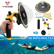 Go Pro dôme Port cache objectif capot pour GoPro Hero 7/6/5/4/3 3 + boîtier étanche déclencheur Grip dôme accessoires de photographie