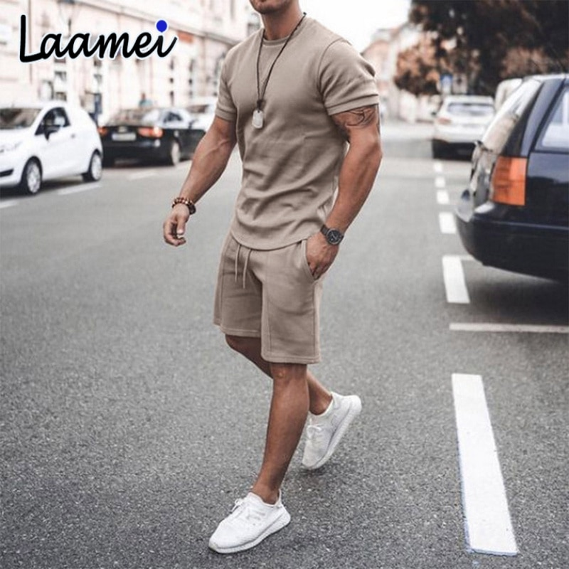 tracksuit men sets male sweatshirtpants summer men s cropped t shirt shorts casual smiley suits sportswear mens clothing t shirt Laamei 2021 Summer Men Casual Shorts Sets Short Sleeve T Shirt Shorts Solid Male Tracksuit Set Mens Brand Clothing 2 Pieces Sets