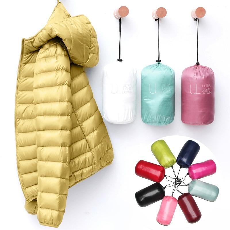 Пуховик женский осенне-зимний, 2020, весенние куртки для Теплая стеганая парка женская и легкая 2021 Женская Сверхлегкая с капюшоном