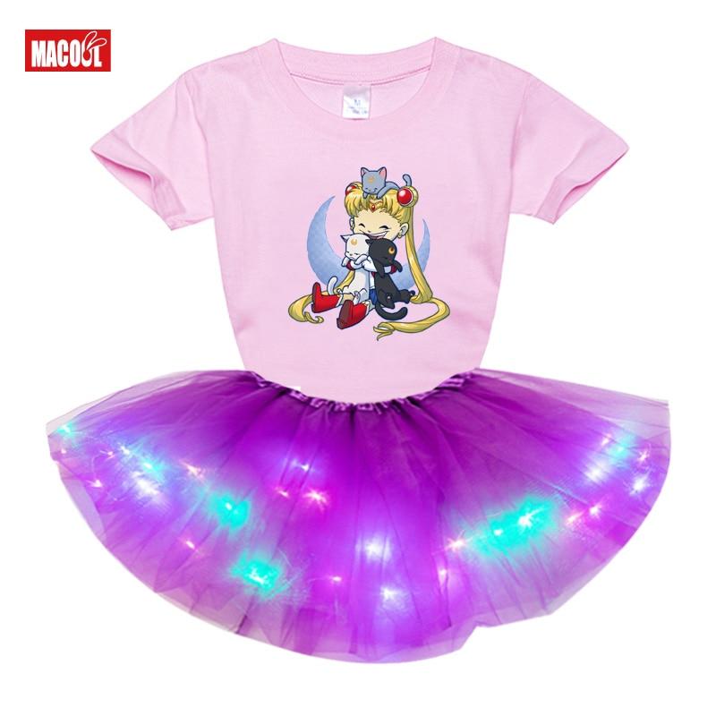Детское платье для девочек, новинка, летняя Модная стильная футболка с мультяшным принтом и коротким рукавом + платье, комплекты одежды для ...