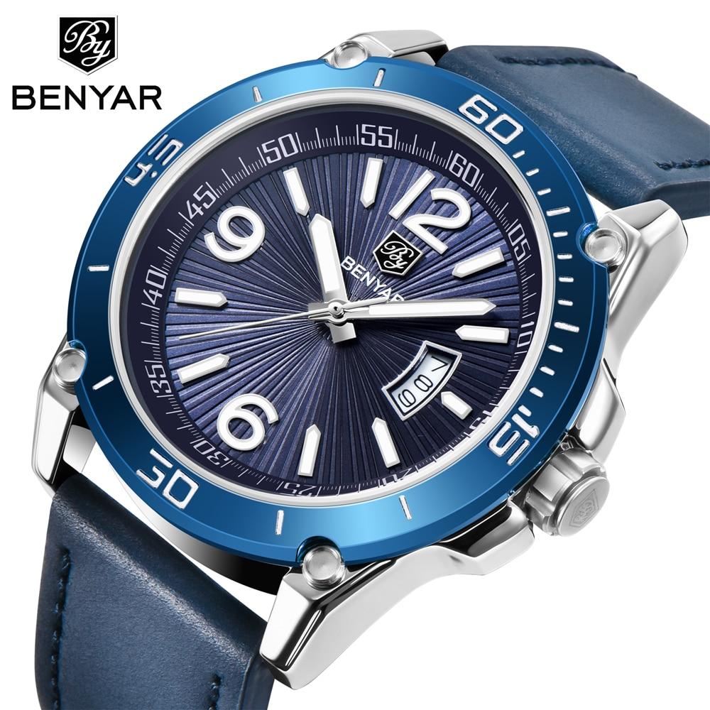 2020 marca de lujo BENYAR reloj de cuarzo fecha hombres Casual militar deportes relojes de pulsera de cuero reloj Masculino Relogio Masculino