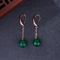 14k rose gold drop earring natural emerald jewelry bizuteria women oorbellen orecchini garnet wedding emerald gemstone earrings