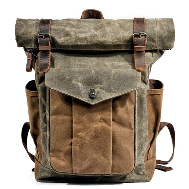 Mochilas de lona MUCHUAN Vintage de lujo para hombres, mochila de viaje de cuero de tela encerada, mochila grande impermeable, mochila Retro