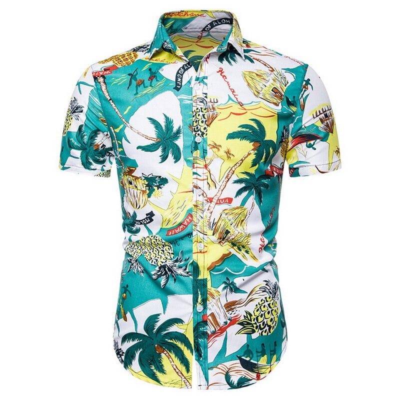Nuevo estampado de moda para hombre, camisas informales de manga corta con botones hacia abajo, camisas hawaianas de verano para playa, vacaciones, camisetas ajustadas para fiesta