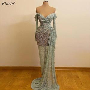 Turkish Couture Mint Green Prom Dresses Beading Full Sleeves Evening Dresses Women Cocktail Party Dresses Vestidos Elegantes