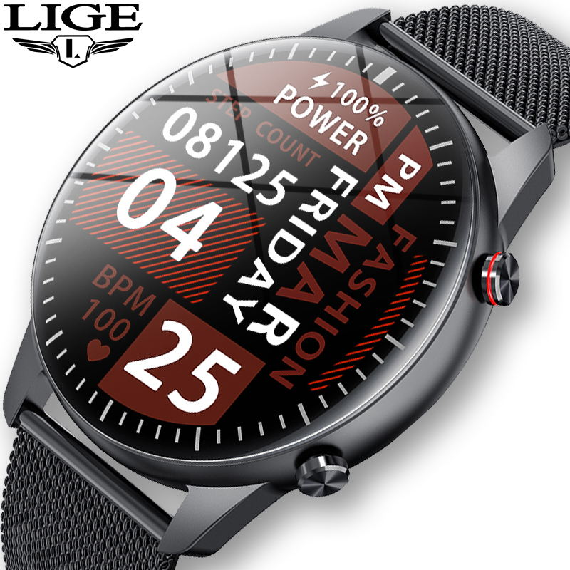 LIGE 2021 Fashion Smart Watch Men Fitness Bracelet Heart Rate Blood Pressure Monitoring Sports Track