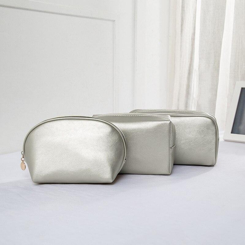 PU Cosmetic Bag Shell Semicircle Portable Large-capacity Travel Female Korean Storage
