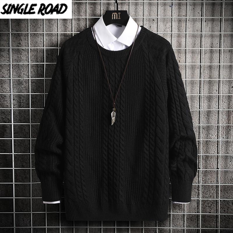 SingleRoad Oversized Mens Knitted Sweater Men 2020 Winter Hip Hop Harajuku Korean Casual Sweaters Pullover Black Sweater Men