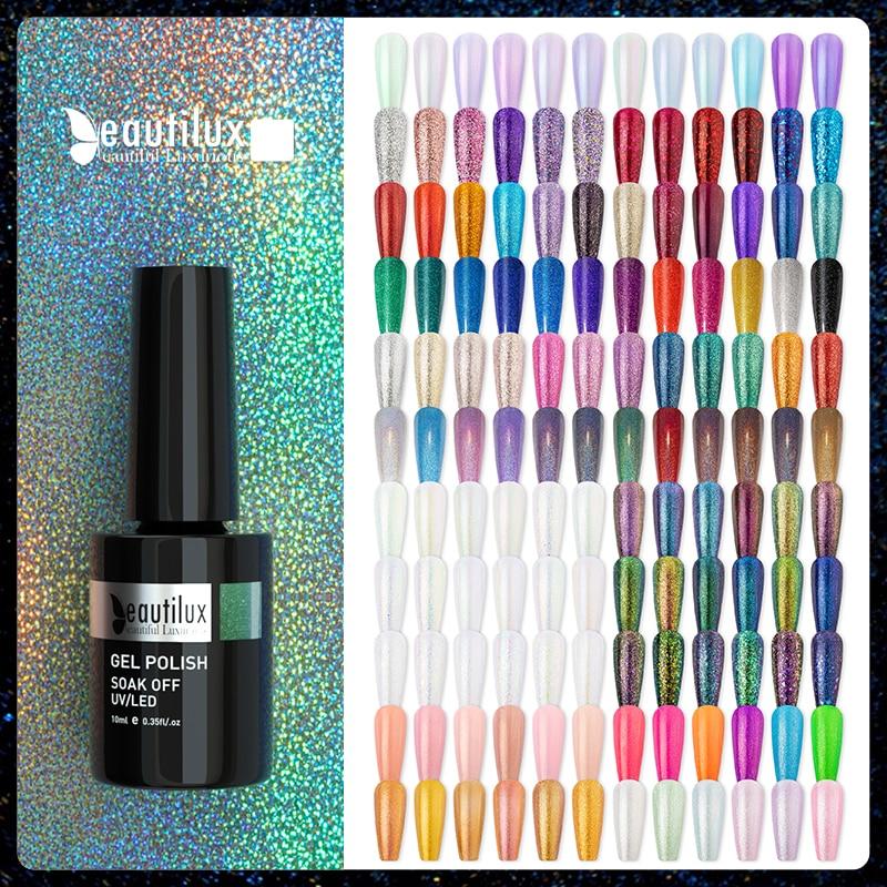 Beautilux Glitter Nail Gel Polish Semi Permanent Sequins Flakes Shiny Glossy UV LED Nails Art Design