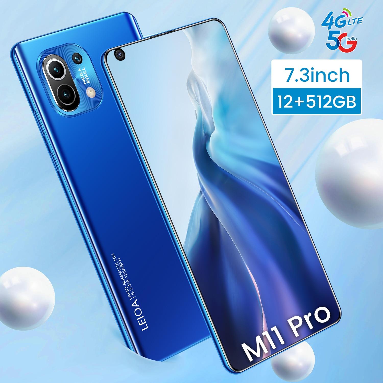 Global Version M11 PRO 7.3Inch 12G 512G MTK6889 10 Core Face Wake Fingerprint Unlock Hot Sell Smartphones Mobile Phone 4G 5G LTE