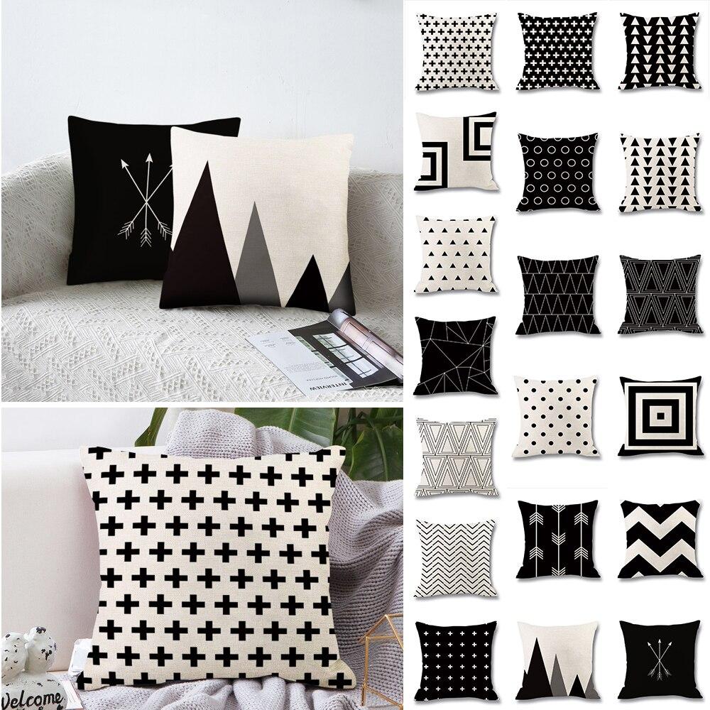 SNEWVIE 1pc Geometric Printed Cushion Cover Black And White Throw Pillow Case Peach Skin Striped Geometric Art Cushion Cover