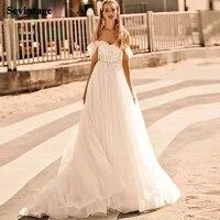 sevintage boho applique lace wedding dresses 2021 off the shoulder beach bridal gown princess plus size wedding party gowns