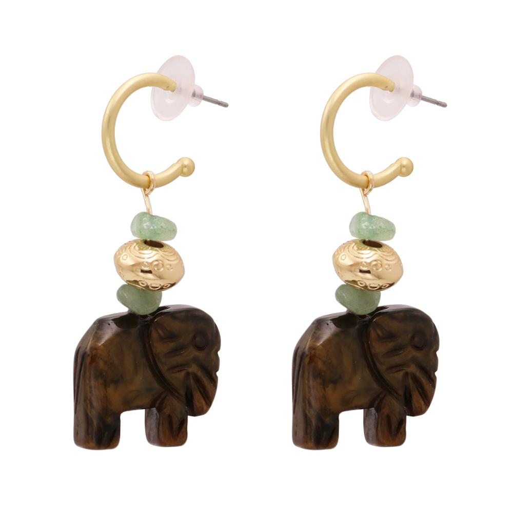 2020 New Fashion Wooden Drop Earring For Women Boho Vintage ZA Statement Brown Elephant Dangle Earring Wholesale Party Jewelry